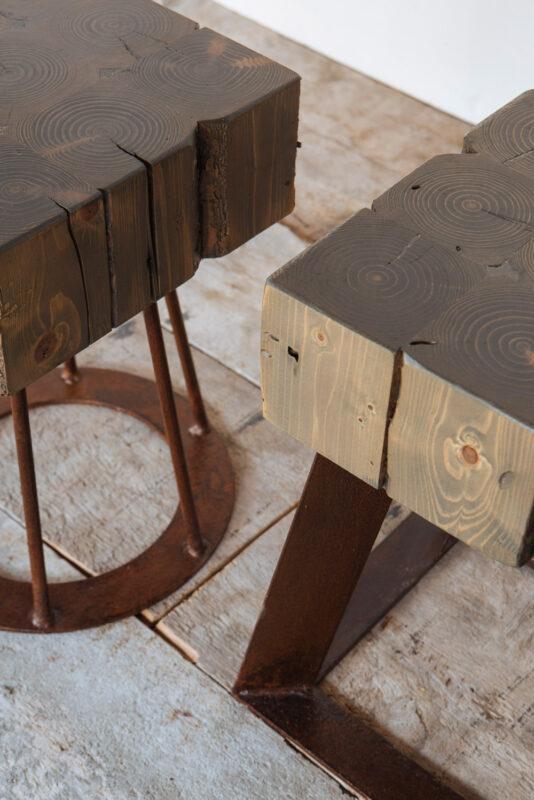 Sedute personalizzate in abete e ferro arrugginito - Industrie Delamont