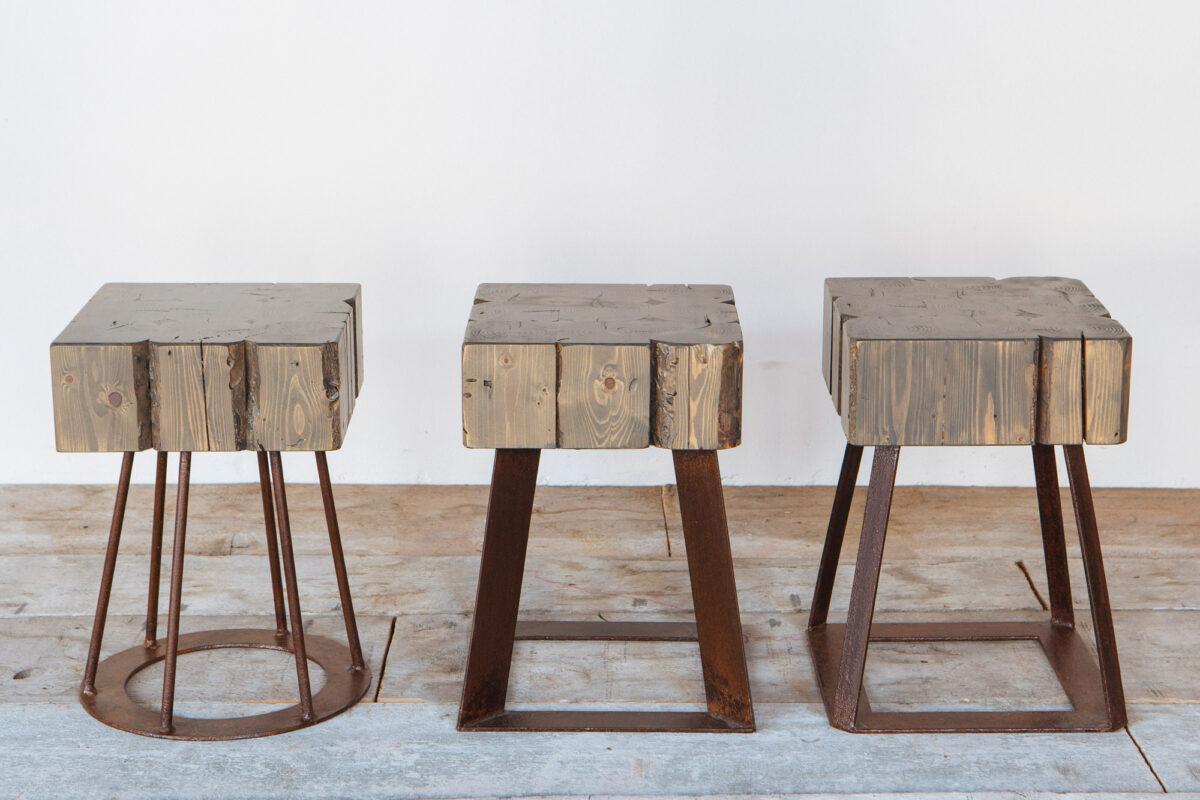 Sedute in abete e ferro arrugginito-Industrie Delamont