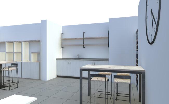 Render con Cucina, tavolo e sedie personalizzate e su misura - Delamont