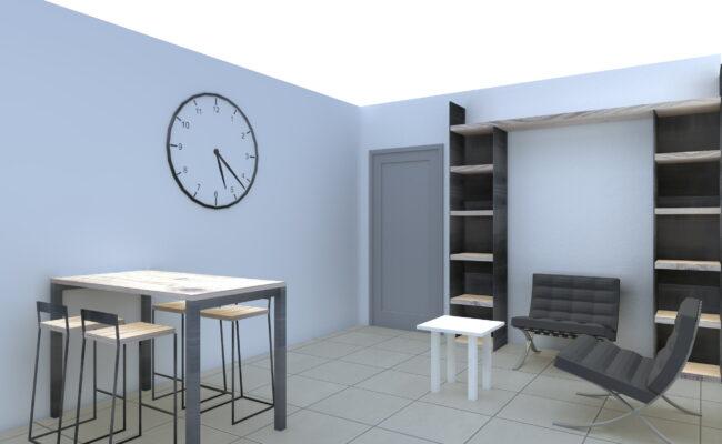 Render - Salotto con poltrone, sgabelli, tavolo e libreria in legno - Delamont